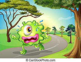 Ein Monster joggt auf der Straße