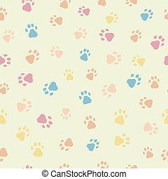 Ein nahtloses Muster von Katzen Hundespuren.