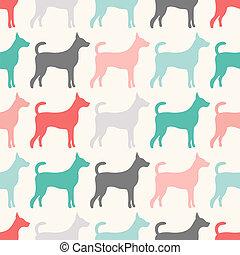 Ein nahtloses Vektormuster von Hundesilhouetten.