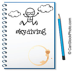 Ein Notizbuch mit einem Bild einer Person, die Fallschirmspringer ist