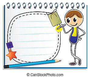 Ein Notizbuch mit einem Bild eines Jungen, der schreibt