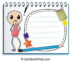 Ein Notizbuch mit einem Bild eines Jungen