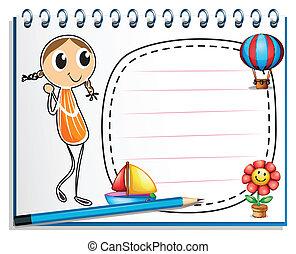 Ein Notizbuch mit einem Bild eines Mädchens und einem leeren Raum