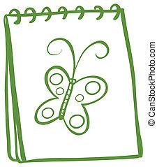 Ein Notizbuch mit einem Bild eines Schmetterlings.