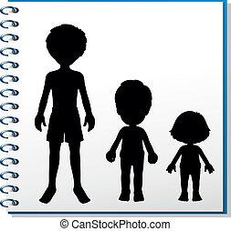 Ein Notizbuch mit einem Bild von drei Menschen