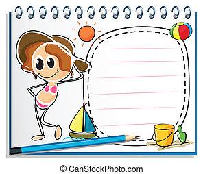 Ein Notizbuch mit einem Bild von einem Mädchen für den Sommer.