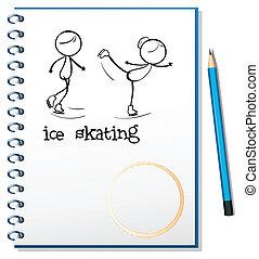 Ein Notizbuch mit einem Bild von zwei Eislaufenden Menschen