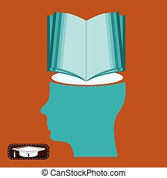 Ein offenes Buch für einen Schüler. Bibliothek, ein Symbol für Bildung. Neues Wissen.