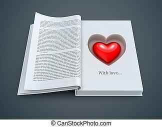 Ein offenes Buch mit rotem Herzen