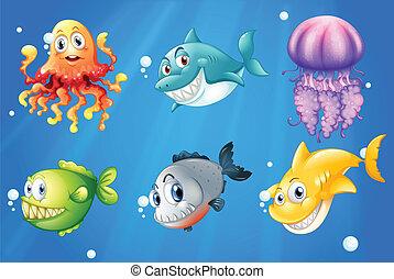 Ein Ozean mit lächelnden Kreaturen.