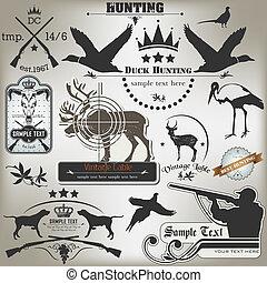 Ein paar alte Etiketten auf der Jagd.