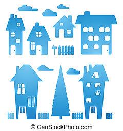 Ein paar blaue Häuser