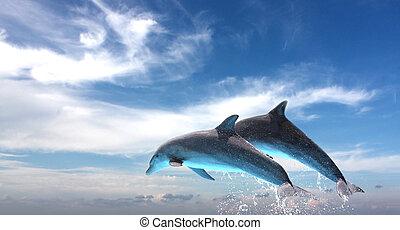 Ein paar Delfine springen gegen den blauen Himmel