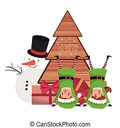 Ein paar Elfen mit Schneemann und Weihnachtsbaum.