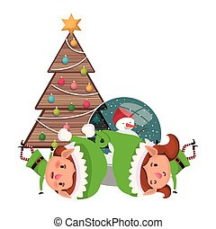 Ein paar Elfen mit Weihnachtsbaum.