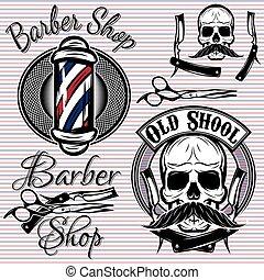 Ein paar Embleme in einem Themen-Barberladen.