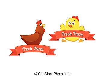 Ein paar Embleme mit Hühnern.