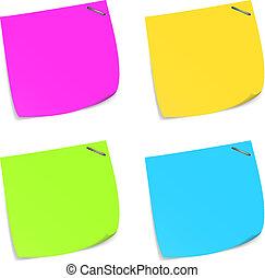 Ein paar farbenfrohe Memo-Noten