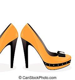 Ein Paar gelbe Schuhe