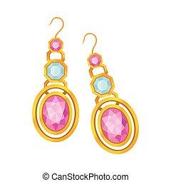 Ein Paar goldene Ohrringe mit Edelsteinen. Vector Illustration auf weißem Hintergrund.