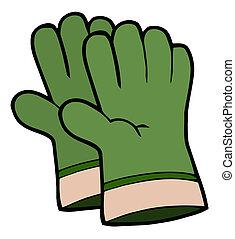 Ein Paar grüne Gartenhandschuhe