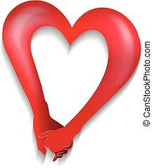 Ein paar Händchen Herz lieben Form Logo.