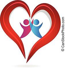 Ein Paar Herz liebt Logo.