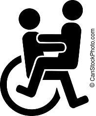 Ein Paar im Rollstuhl.