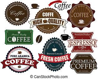 Ein paar Kaffee-Etiketten