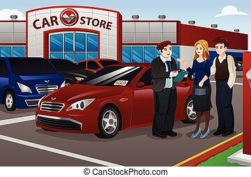 Ein paar kaufen neues Auto.