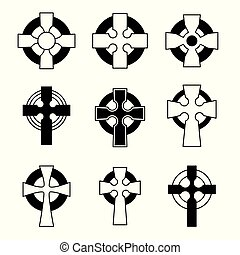 Ein Paar keltische Kreuze für religiöses Design. Irisch, keltische Kreuzzeichensammlung.