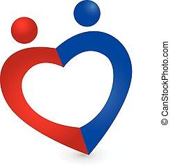 Ein Paar Liebesherz-Logo-Vektor-Icon.