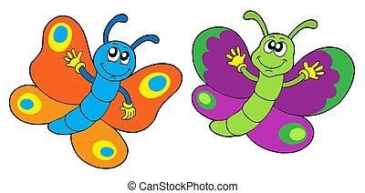 Ein Paar lustige Schmetterlinge.