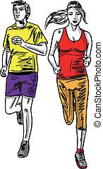 Ein paar Marathonläufer. Vektor Illustration