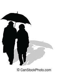 Ein Paar mit Regenschirm