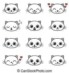 Ein paar süße Cartoon-Katzen-Emoticons.