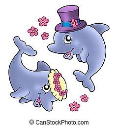 Ein Paar süßer Hochzeits Delfine