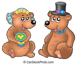 Ein Paar süßer Hochzeitsbären