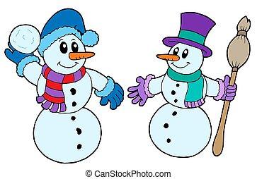 Ein Paar süßer Schneemänner