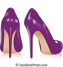 Ein Paar Schuhe mit hohen Absätzen