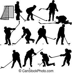 Ein paar Silhouetten Eishockeyspieler. Auf weiß. Illustra