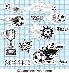 Ein Paar Skizzen-Fußballaufkleber.