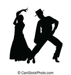 Ein paar Tanzvektorsilhouette.