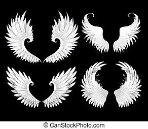 Ein paar weiße Flügel.
