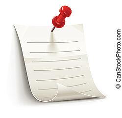 Ein Papierblatt für Notizen, eingeklemmt von Nadel