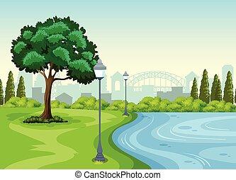 Ein Park in der Stadt.