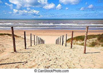 Ein Pfad zum sandigen Strand an der Nordsee