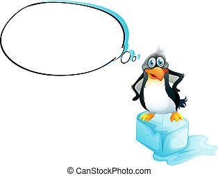 Ein Pinguin, der über einem Eiskübel steht.