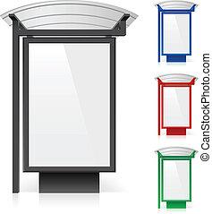 Ein Plakat an einer Bushaltestelle in verschiedenen Farben
