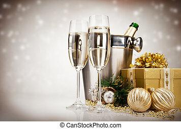 Ein Promi mit Champagner